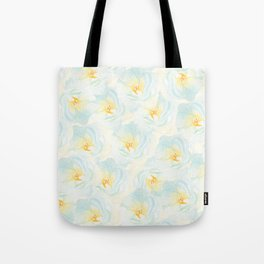 Watercolor hand painted pastel blue yellow floral pattern Tote Bag