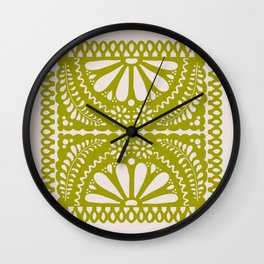 Fiesta de Flores in Lime Wall Clock