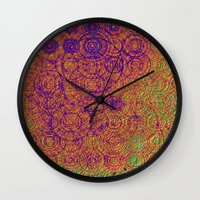 trippy Wall Clocks featuring Trippy by Lyle Hatch