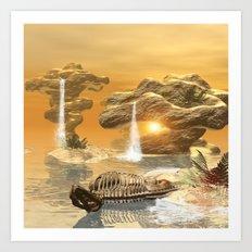 T-rex skeleton Art Print