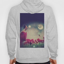 Dream fairy in fantasy land with bright red tulips at night time Hoody