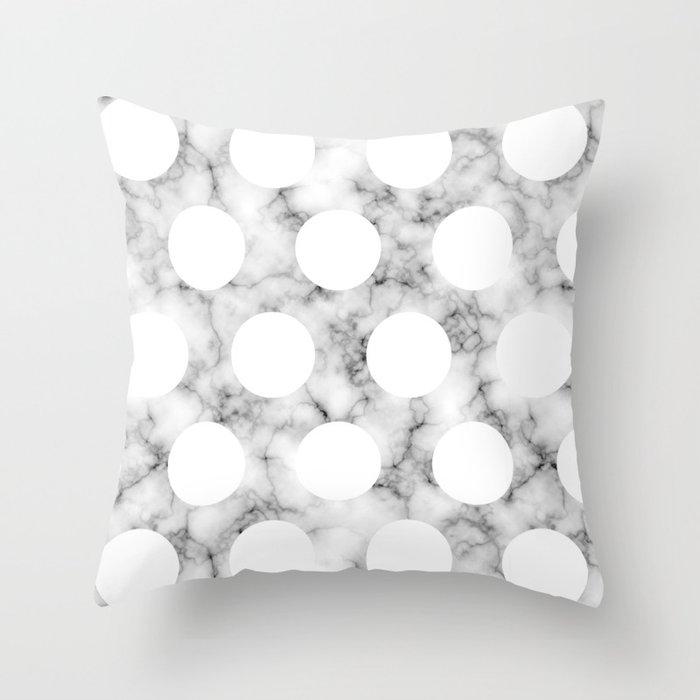 MARBLE POLKA WHITE Throw Pillow