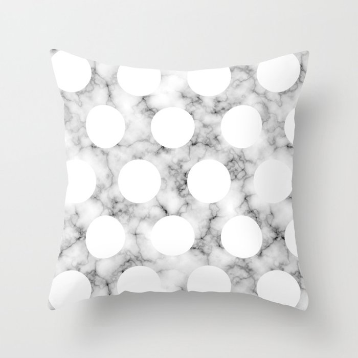 MARBLE POLKA WHITE Throw Pillow