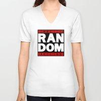 random V-neck T-shirts featuring RANDOM by PsychoBudgie