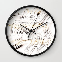 Liquid Gold Silver Black Marble #1 #decor #art #society6 Wall Clock