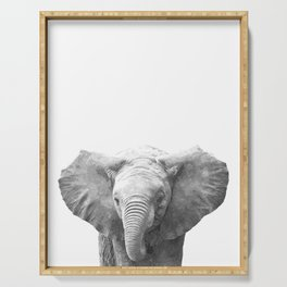 Black and White Baby Elephant Serving Tray