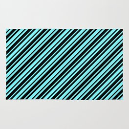 Electric Blue and Black Diagonal RTL Var Size Stripes Rug