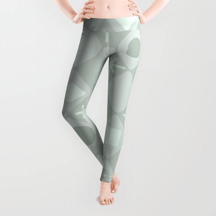 Mid Century Modern Diamonds Pale Green Leggings