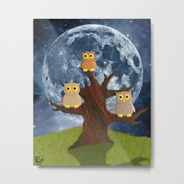 Owling at the Moon Metal Print
