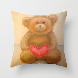 """Teddy Bear"" Toy by pastel Throw Pillow"
