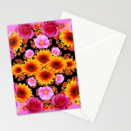 Red Pink Roses Golden Sunflowers  Black Art Stationery Cards