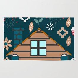 Winter cottage Rug