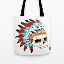 Indian Chief Skull Tote Bag