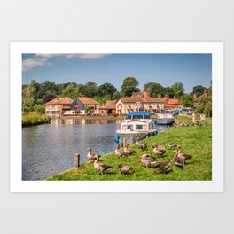 Boats at Coltishall on Norfolk Broads Art Print