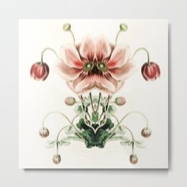 Botanical Flower Glitch IV Metal Print