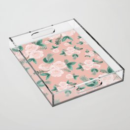 Watercolor Roses in Soft Pink Acrylic Tray
