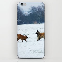 Lets play - Dogs in the snow iPhone Skin