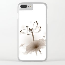 Oriental Lotus 003 Clear iPhone Case