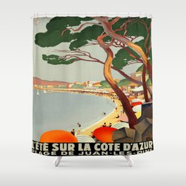 Vintage poster - Cote D'Azur, France Shower Curtain