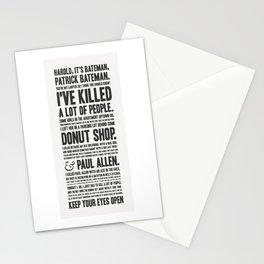 American Psycho - Patrick Bateman's Confession Stationery Cards
