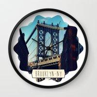 brooklyn Wall Clocks featuring BROOKLYN by Alexandre Ormond