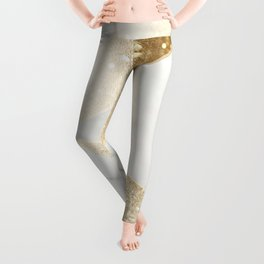 Elegant Marble and Gold Abstract Design Leggings