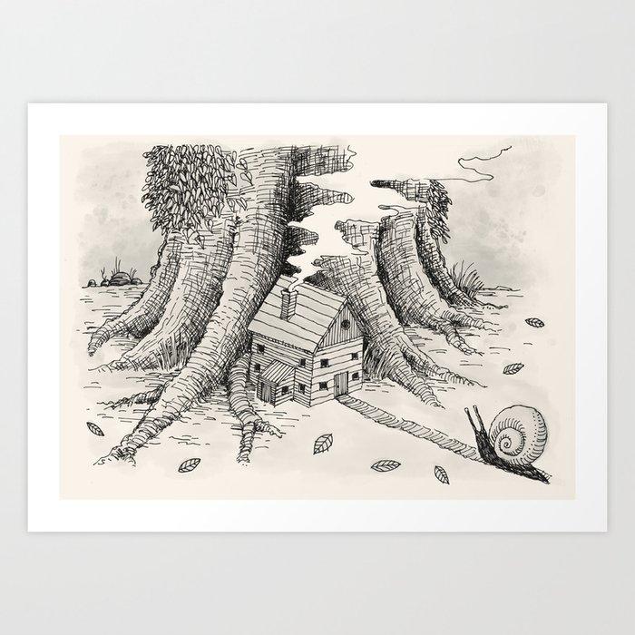 'A Visitor' (Grey) Art Print