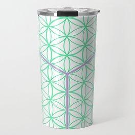 Sacred Geometry - glowing energy lines - cube and flowers Travel Mug