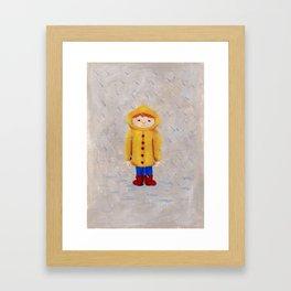 Boy In Rain Framed Art Print