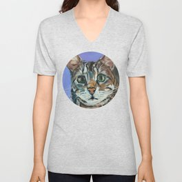 Green Eyed Cat Portrait Unisex V-Neck