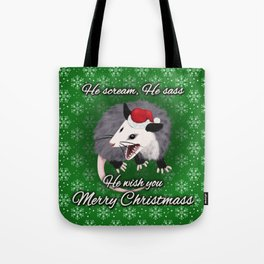 Christmas Opossum Tote Bag