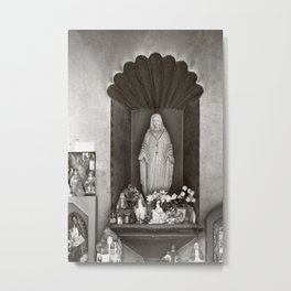 Statue Of The Virgin Mary At The Mission Church San Xavier Del Bac Metal Print