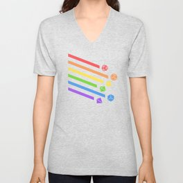 Falling Dice Set Ray Slaying Dragons in Dungeons DnD Tabletop RPG LGBT Pride Unisex V-Neck