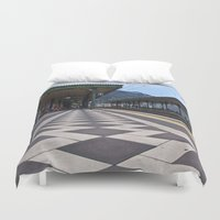 the godfather Duvet Covers featuring Train Station of Giardini Naxos on the Isle of Sicily - The Godfather by CAPTAINSILVA