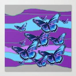 MODERN INDIGO BLUE BUTTERFLIES & PURPLE  HORIZON LANDSCAPE Canvas Print