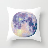 the moon Throw Pillows featuring Moon by Marta Olga Klara