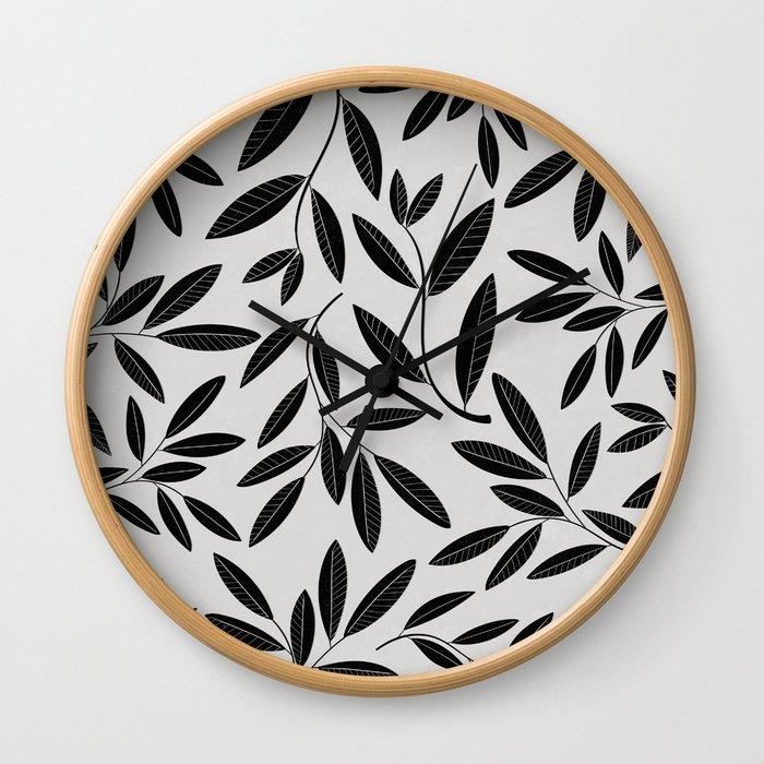 Black & White Plant Leaves Pattern Wall Clock