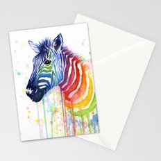 Zebra Rainbow Watercolor Whimsical Animal Stationery Cards
