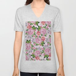 Watercolor pink lavender colorful hand painted roses flowers Unisex V-Neck