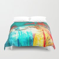 surfing Duvet Covers featuring Surfing by Fernando Vieira