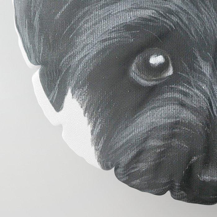 Black Schnauzer, Dog illustration original painting print Floor Pillow