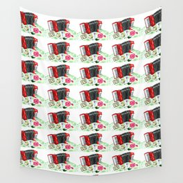 Retro red accordion Wall Tapestry