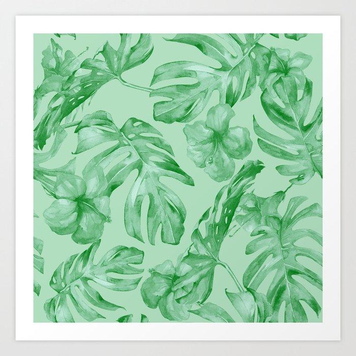 Green Jungle Island Tropical Palm Garden Art Print