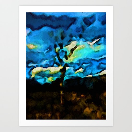 Gold Landscape with Tree and Blue Sky Art Print