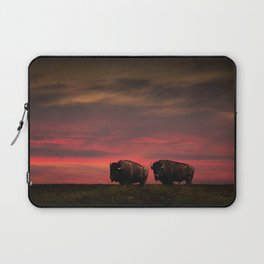 Two American Buffalo Bison at Sunset Laptop Sleeve