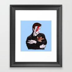 David & The cat Framed Art Print