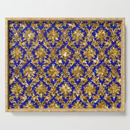Christmas Gold & Torea Bay Blue Pattern Serving Tray