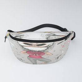 goat yoga, gray white aqua turquoise red Fanny Pack
