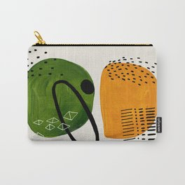 Mid Century Modern Abstract Colorful Art Patterns Olive Green Yellow Ochre Orbit Geometric Objects Carry-All Pouch