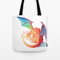 charizard Tote Bags featuring Charizard by Natalie Huber